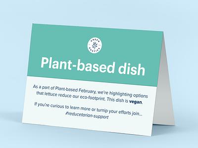 Plant-based February Spotlight vegan green vegetarian card table tent