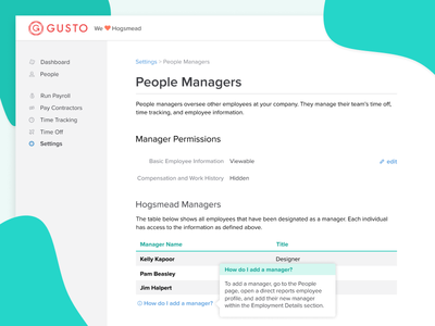 Permissions for Managers design ui ui design permissions hr cloud product design ui  ux