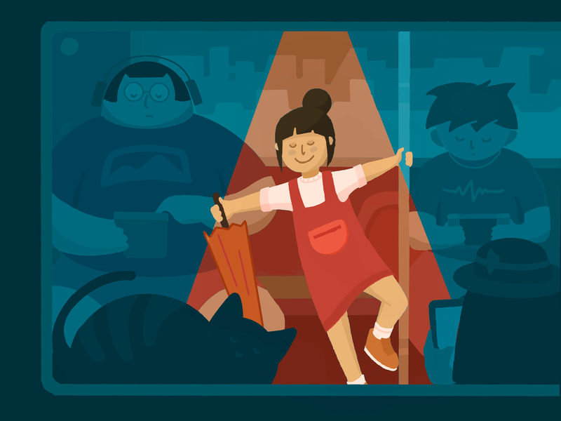 Dancing on the subway ipad pro procreate ui doodle design illustration