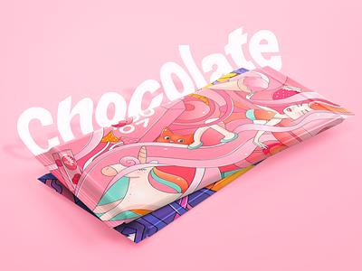 Chocolate coffee cgart concept chocolate design sweets unicorn pink chocolate bar branding chocolate design illustration