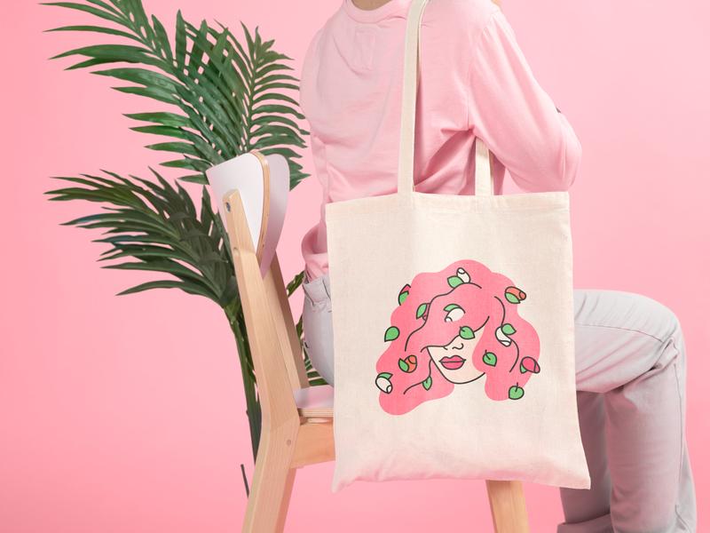 Tote Bag tote bags pink hair flowers packagingdesign packaging print tote bag character pink illustration