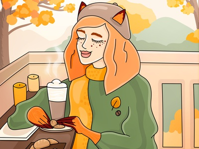 Fox and Coffee lineart cocoa autumn hat fox bakery croissant coffee shop ads branding coffee cartoon character cgart character illustration