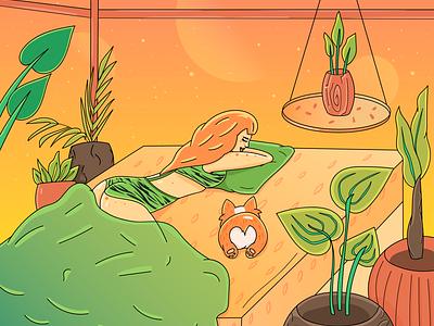 Sunset, Corgi and I redhead coloring lineart plants digital artist sleep dog corgi digital art sunset branding cgart cartoon character character illustration