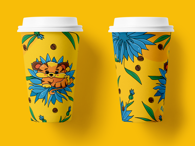 Yellow Coffee Cup cup design cartoon character design blue flower packaging design coffee shop tiger yellow coffee cup design coffee cup coffee illustration
