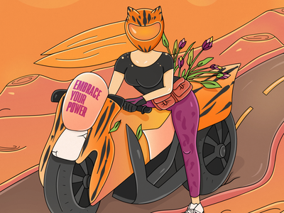 Biker Girl sunset helmet girl biker flowers poster desert power woman bike cgart character illustration