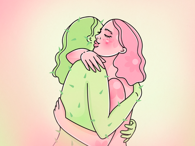 Embrace your differences. Vol.2 cactus flower poster embrace hug selfcare selflove green pink woman character illustration