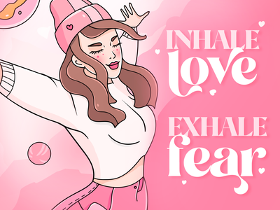 Inhale Love quote planets motivational love inhale poster woman pink character illustration