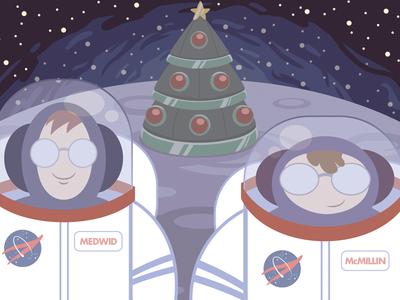 Joy to the World(s) illustration christmas card space holidays nasa moon cute