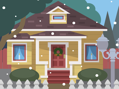 California Christmas 2017 winter card illustration house christmas