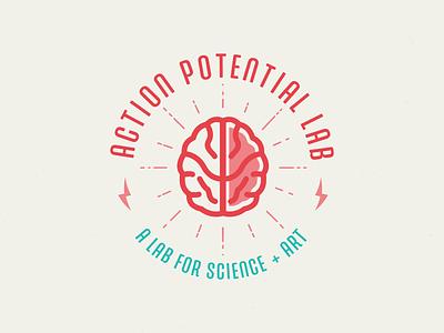 Action Potential Logo brain logo illustration circle burst bolt sparks type science lab art education