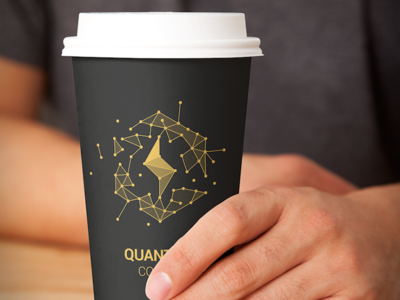 Quantum Coffee Cup branding id grid bolt coffee quantum logo cup