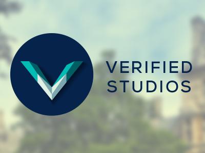 Verified Studios Logo studio logo education v blue flat