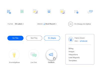Leadpages App UI Updates minimal ui chat avatar templates icons illustration