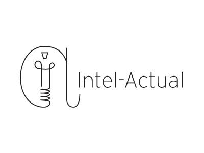 Intelactual light bulb line thin idea logo