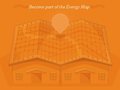 Solar Postcard solar panels vector illustration map