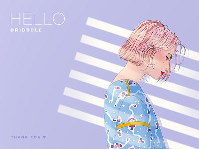 Hello Dribbble ! illustrator photoshop woman debut illustration
