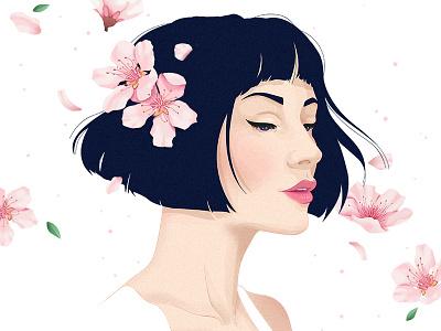 Sakura photoshop woman illustration flowers sakura
