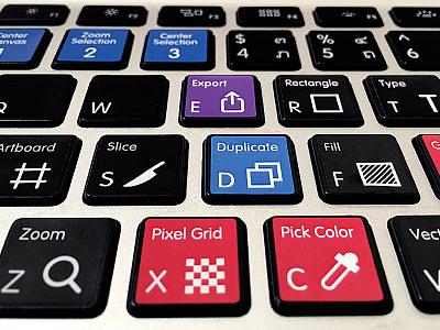 Keyboard stickers w/ Sketch shortcuts swag workflow stickers hotkeys shortcuts keyboard sketch