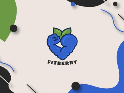 FitBerry Logo Concept fruit logo food logo strength fist arm smoothie fitness logo fitness app fit leaf blackberry blueberry fruit fitness berry vector logo