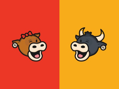 GetBranded Cows wink bow horns barn animal moo bull cows cartoon characters branding logos