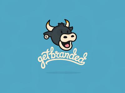 GetBranded's New Logo & Custom Type animation horns cows script type branding mascot logo