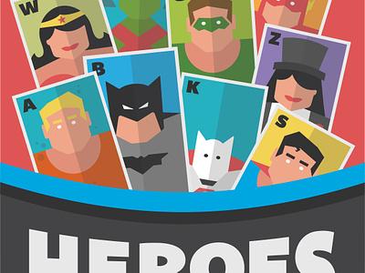Hero Flashcards A-Z DC aqua man wonder woman robin batman superman marvel dc super hero super heroes tarot cards playing cards alphabet