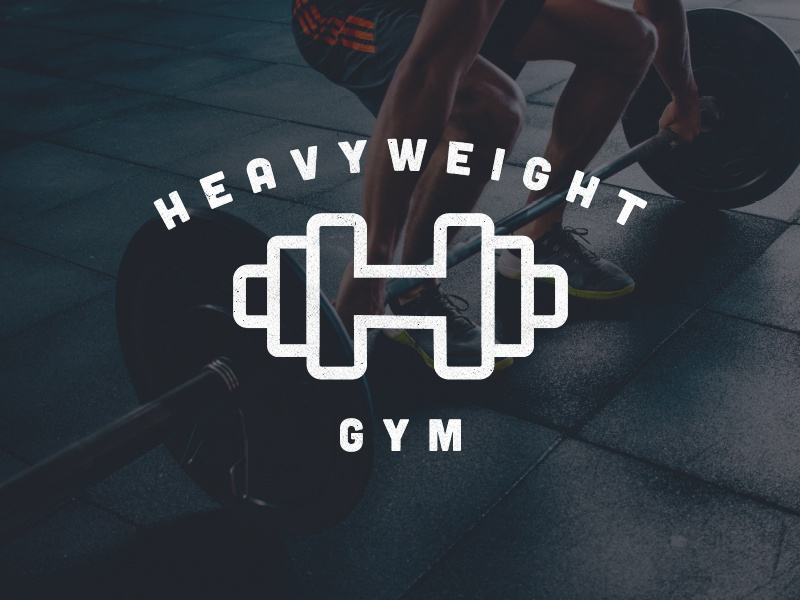 Heavy Weight Gym freelance life brand gymnasium logo hustle dumbbell weight exercise gym