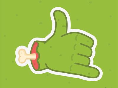 ZombEmoji sticker bone fist peace wave hang loose rock on thumbs up hand brains emoji zombie