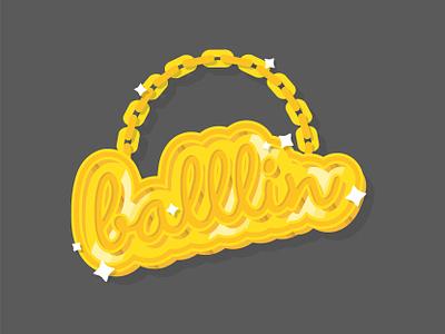🏀 BALLLIN 🏀 illustration vector basketball necklace chain gold bling dribbble