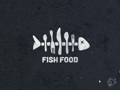 FishFood Logo restaurant food spoon knife fork fish logo