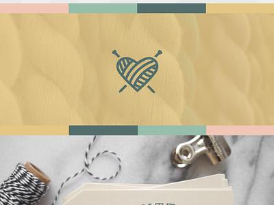 Knitted With Love branding logo birds heart needles yarn ball yarn knitting