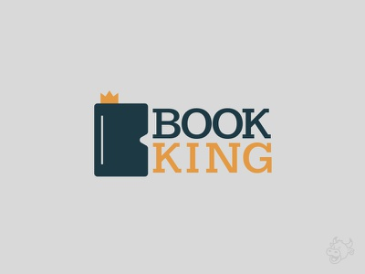 Book King crown book king booking branding logo