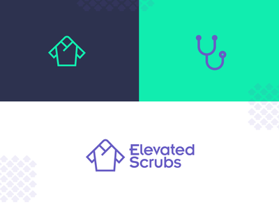 Elevated Scrubs direction icon medical branding brand up arrow logomark clothes scrubs doctor concept logo