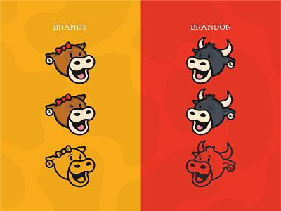 GetBranded Cows 🐮 mascot logo mascot cow logo animal logo getbranded.org illustration branding brand logo