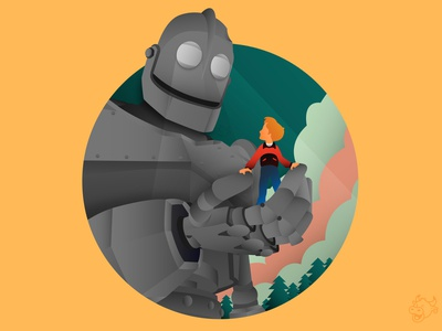 The Iron Giant WIP🤖 trees clouds hogarth vector illustrator illustration robot iron giant