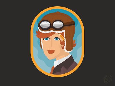 Amelia Illustration amelia earhart pilot character mascot characer mark vector illustration branding brand mascot school mascot school logo