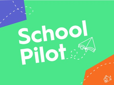 SchoolPilot Final icon school bookmark pages book textbook paper airplane paper mark vector illustration branding brand logo