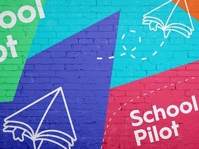 SchoolPilot Mural mural web application school bookmark textbook book paper airplane paper design illustration brand branding logo