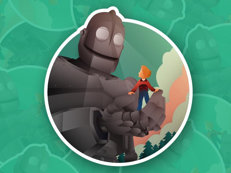 Iron Giant Sticker illustration hogarth iron giant sticker robot