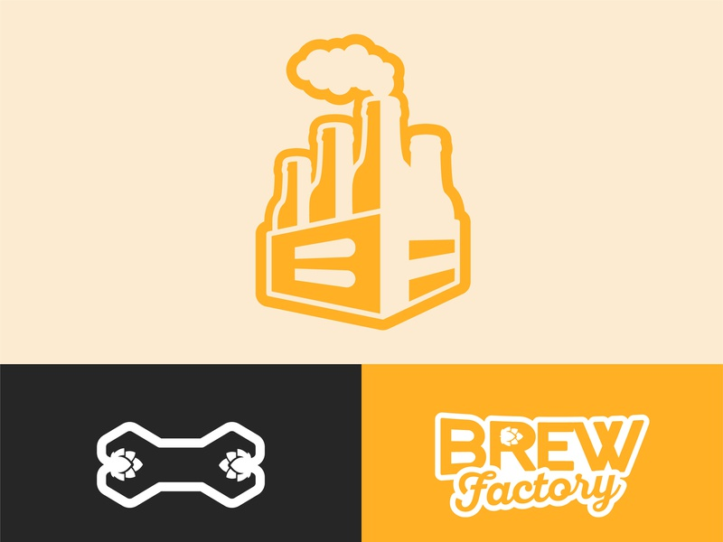 🍺 Brew Factory Logo 🍺 brewery logo brewing brewery pub alchohol hops wrench factory drink beer mark brand branding logo