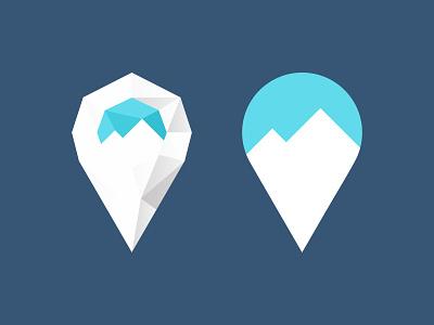mountain geo pin logo app flat logo geo locate map arctic snow express pin mark marker