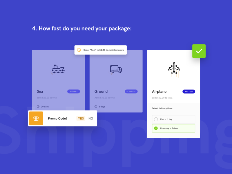 Shipment - UI Elements package post shipment process webdesign minimal kit icons blue send system shipping digital clean concept web design modern flat ui