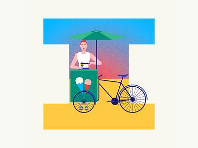 36 days of type | Letter I summer vibes summer bike ice cream truck ice cream 36days-i 36days-adobe 36daysoftype06 36daysoftype vector typography after effects wacom intuos after effects animation animation graphic illustration design illustrator graphic design