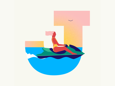 36 days of type | Letter J jet ski summer vibes summer 36days-j 36days-adobe 36daysoftype06 36daysoftype vector typography after effects wacom intuos after effects animation animation graphic illustration design illustrator graphic design