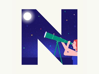 36 days of type | Letter N summer vibes summer night sky sky night 36days-n 36days-adobe 36daysoftype06 36daysoftype wacom intuos graphic illustration design illustrator graphic design