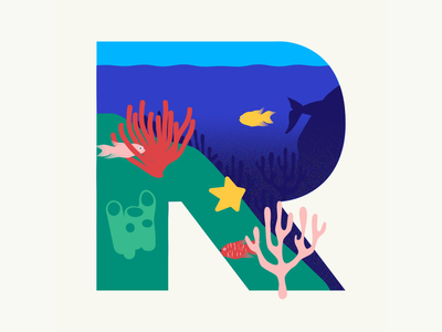 36 days of type | Letter R coral reef coral reef 36days-r 36days-adobe 36daysoftype06 36daysoftype vector typography wacom intuos illustration design graphic illustrator graphic design