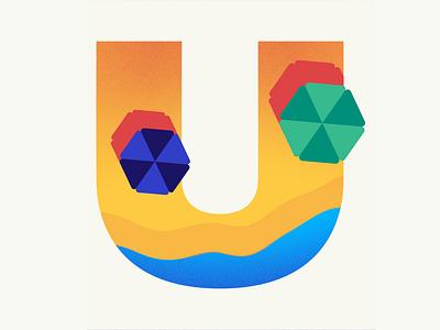 36 days of type | Letter U beach sun umbrella summer vibes summer 36days-u 36days-adobe 36daysoftype06 36daysoftype vector typography wacom intuos illustration design graphic illustrator graphic design