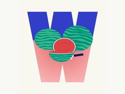 36 days of type | Letter W fruit watermelon summer vibes summer 36 days of type 36days-w 36days-adobe 36daysoftype06 36daysoftype vector typography wacom intuos illustration illustrator design graphic graphic design