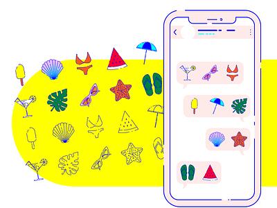 Summer stickers for WhatsApp flat stickers downloadable download whatsapp icons summer vector wacom intuos illustration design graphic illustrator graphic design