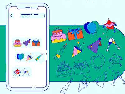 Birthday — Flat icons flat design flatdesign flat vector wacom intuos illustration design graphic graphic design icons pack illustrator whatsappstickers stickers birthday iconset icons